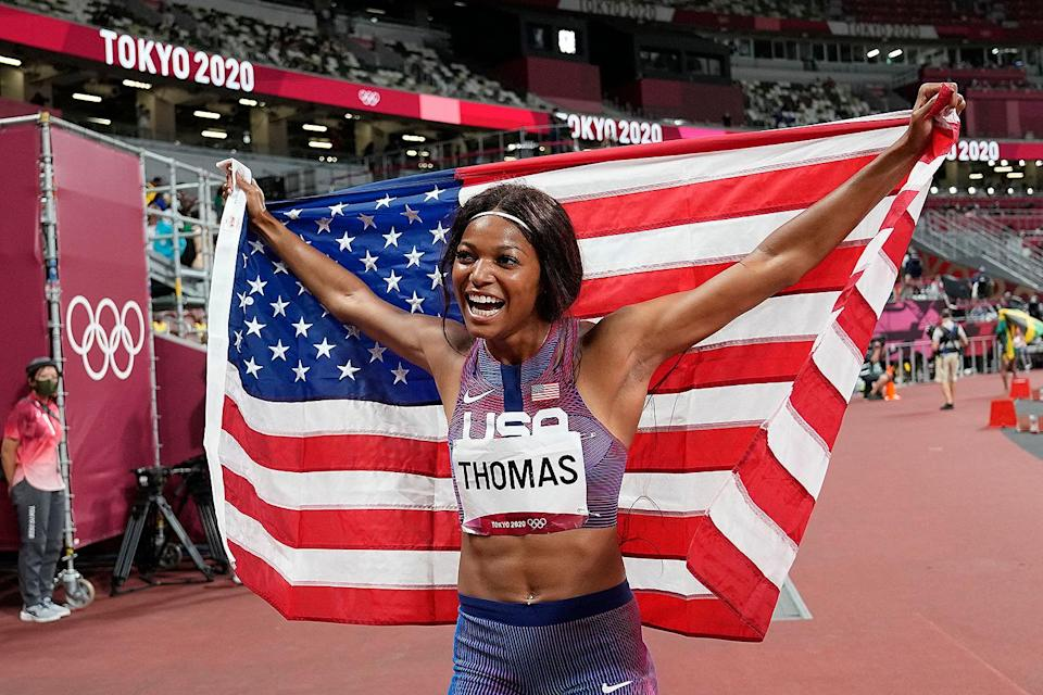 """<p>Biography: 24 years old</p> <p>Event: Women's 200m race</p> <p>Quote: """"It's such a long journey, and so many days and hours of mental and physical preparation. And it just all came together in that one moment.""""</p>"""