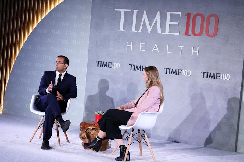 Co-Founder &CEO of Last Mile Health, Dr. Raj Panjabi (L), and Nation Editor at TIME Haley Sweetland Edwards speak onstage during the TIME 100 Health Summit at Pier 17 in New York City on Oct. 17, 2019. | Brian Ach—Getty Images for TIME 100 Health