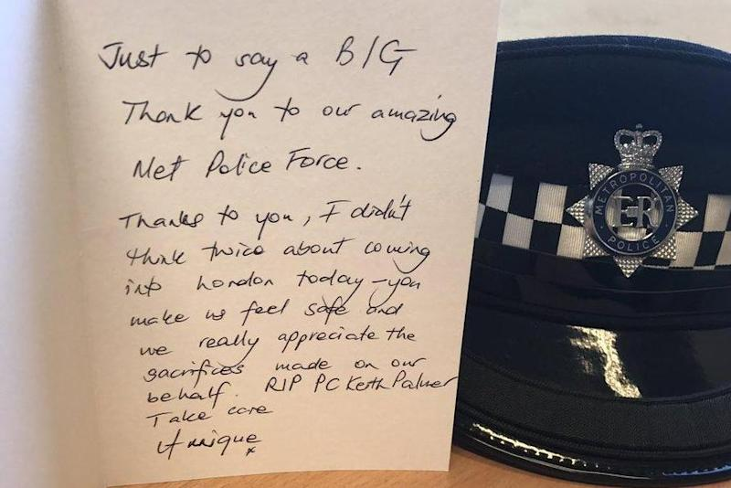 Tribute: Cards have been sent to police in London: Westminster Police