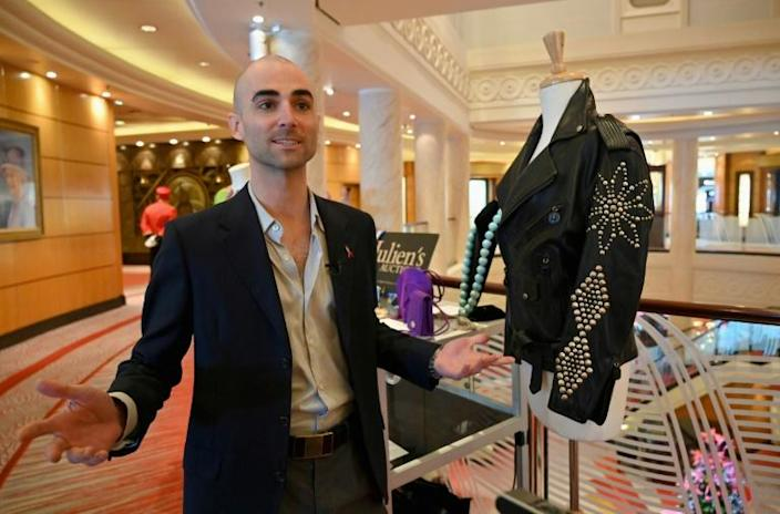 Quinn Tivey, grandson of late actress Elizabeth Taylor, will voyage across the Atlantic with some of his grandmother's personal effects before they are auctioned off (AFP Photo/Angela Weiss)