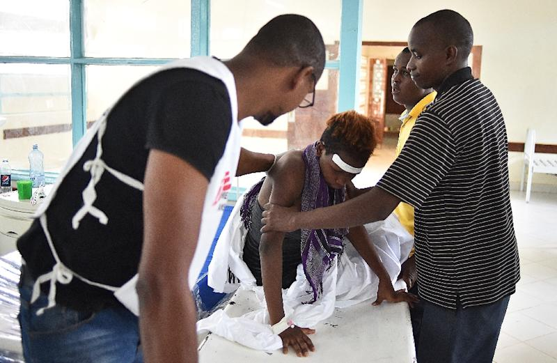 A student injured in the attack on Moi university by Shebab fighters is treated at a hospital in Garissa on April 3, 2015 (AFP Photo/Carl de Souza)