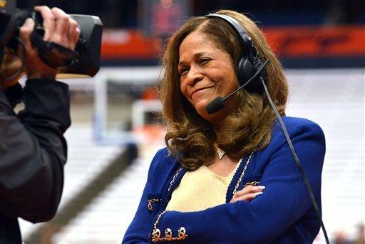 Rutgers head coach C. Vivian Stringer participates in an interview during halftime against Syracuse in an NCAA college basketball game in Syracuse, N.Y., Tuesday, Feb. 19, 2013. (AP Photo/Kevin Rivoli)