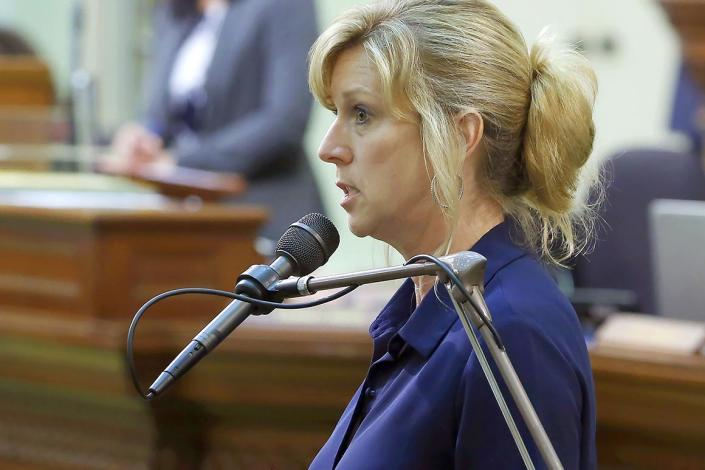 FILE - In this June 17, 2019, file photo, Assemblywoman Christy Smith, D-Santa Clarita, speaks in a session of the California Assembly in Sacramento, Calif. Smith is a candidate for the 25th Congressional District seat in the upcoming California Primary election. An ex-congressman, a state lawmaker, an online news personality and a former combat pilot are among the candidates hoping to fill a U.S. House seat north of Los Angeles — a race that's being watched nationally for hints about which party might control Congress next year. (AP Photo/Rich Pedroncelli, File)