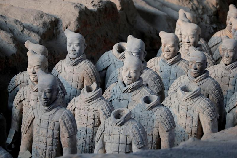 Terracotta warriors and horses, which were unearthed during the first excavation from 1978 to 1984, stand inside the No. 1 pit of the Museum of Qin Terracotta Warriors and Horses in Xian, Shaanxi province, in China, January 8, 2018. REUTERS/Charles Platiau