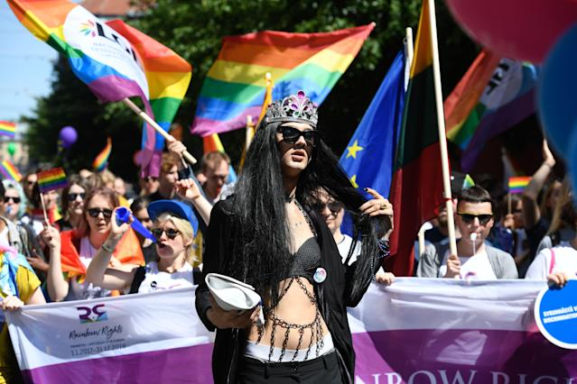 <p>Protesters take part in the Baltic gay pride parade in Riga, Latvia on June 9, 2018. LGBT groups from Estonia, Latvia and Lithuania gather for the Baltic Pride parade 2018. (Photo: Ilmars Znotins/AFP/Getty Images) </p>