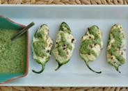 "<p>Stuff jalapeños with bacon, cream cheese, pepper jack cheese, scallions, garlic, and lime, and grill them for the best-ever jalapenño popper.</p> <p><strong>Get the recipe:</strong> <a href=""https://www.popsugar.com/food/Grilled-Jalapeno-Poppers-Recipe-18342846"" class=""link rapid-noclick-resp"" rel=""nofollow noopener"" target=""_blank"" data-ylk=""slk:grilled jalapeño poppers"">grilled jalapeño poppers</a></p>"