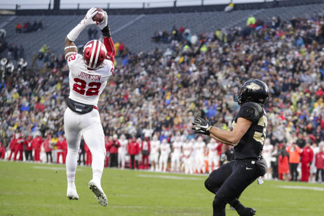Indiana defensive back Jamar Johnson (22) intercepts a pass in the end zone intended for Purdue wide receiver Jackson Anthrop (33) during the first half of an NCAA college football game in West Lafayette, Ind., Saturday, Nov. 30, 2019. (AP Photo/Michael Conroy)