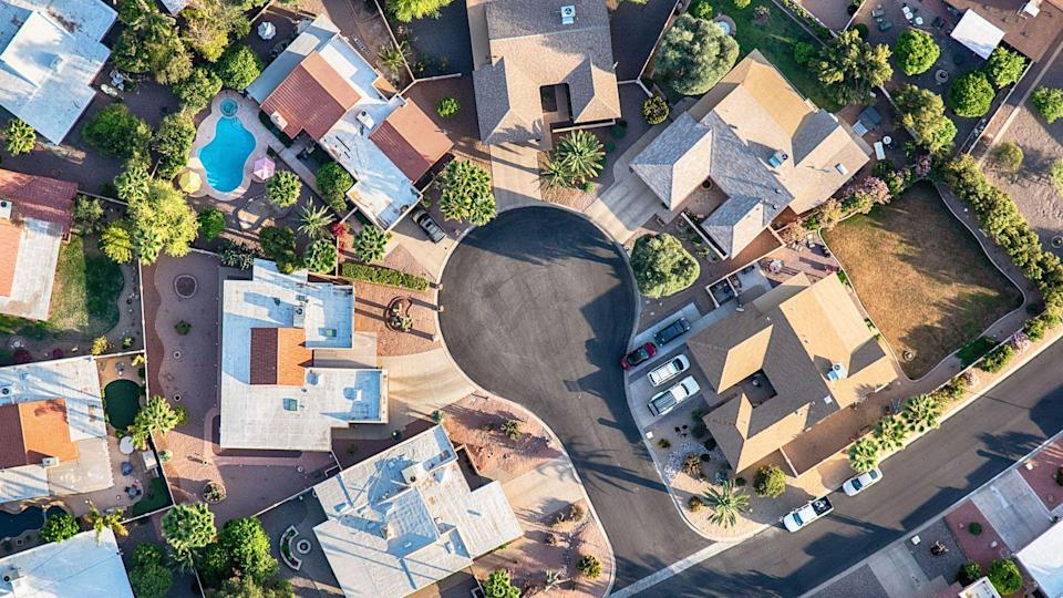 Aerial view of a cul-de-sac in a planned exclusive residential area in Scottsdale, Arizona.