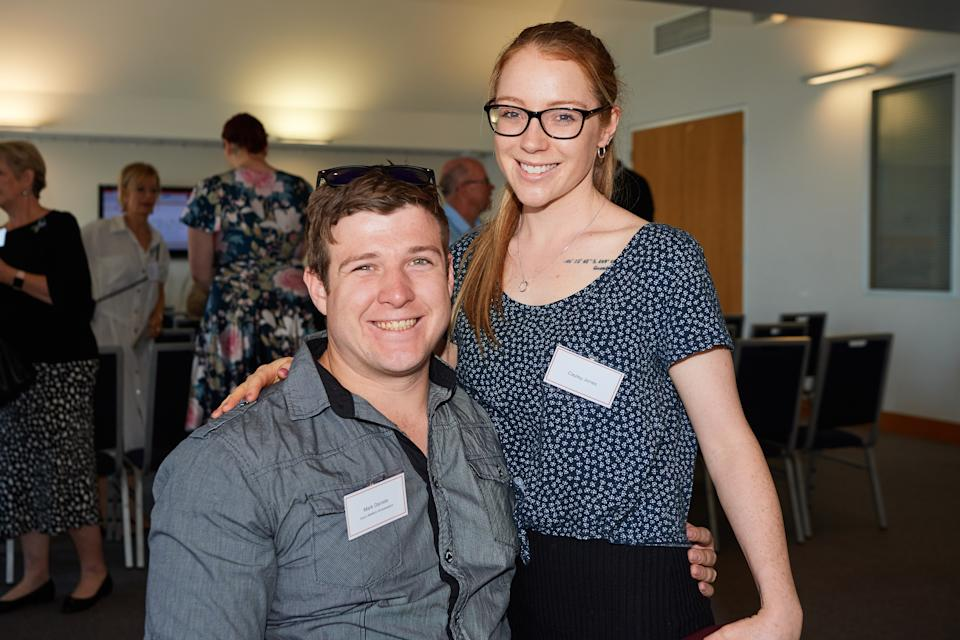 Pictured is Mark and his girlfriend Cayley at an Injury Matters event for World Day of Remembrance for Road Traffic Victims, a group Mark says helped his mother come to terms with the accident