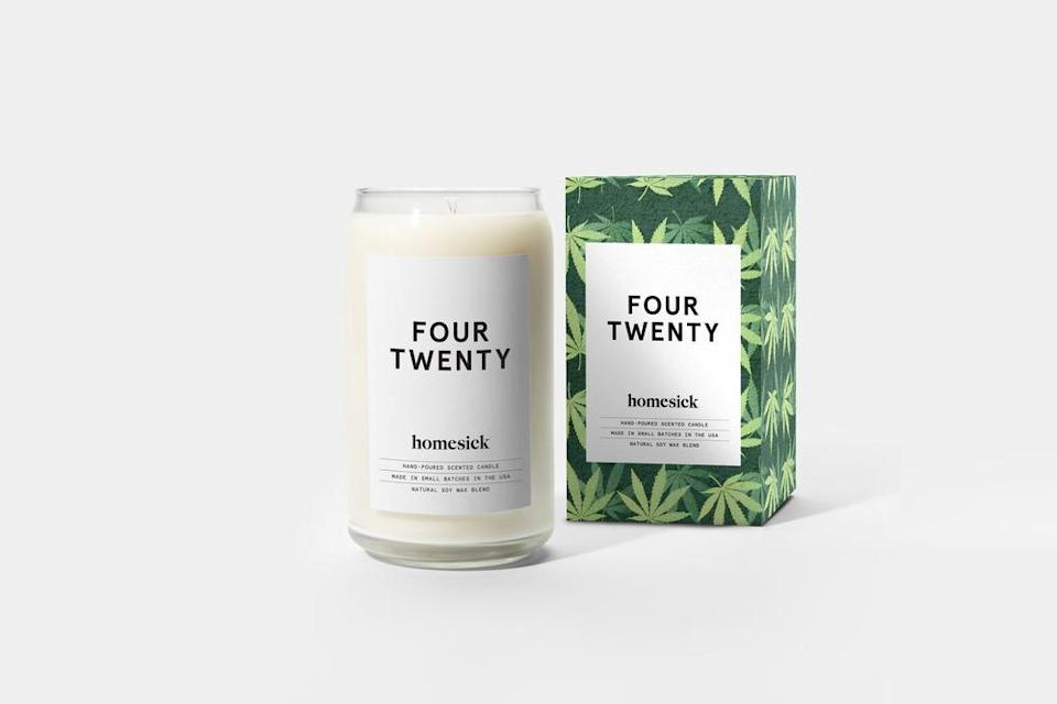 """<h2>Homesick Four Twenty Candle</h2><br>The aptly-named """"Four Twenty"""" candle has notes of bergamot, cannabis, cedarwood, sandalwood, and patchouli. """"A cloudy room, drifting to the tune of your favorite album. Light it up and don't worry about a thing,"""" the brand advises. Don't mind if we do.<br><br><em>Shop</em> <strong><em><a href=""""http://homesick.com"""" rel=""""nofollow noopener"""" target=""""_blank"""" data-ylk=""""slk:Homesick Candles"""" class=""""link rapid-noclick-resp"""">Homesick Candles</a></em></strong><br><br><strong>Homesick Candles</strong> Four Twenty Candle, $, available at <a href=""""https://go.skimresources.com/?id=30283X879131&url=https%3A%2F%2Fhomesickcandles.com%2Fcollections%2Fmemories%2Fproducts%2Ffour-twenty-candle"""" rel=""""nofollow noopener"""" target=""""_blank"""" data-ylk=""""slk:Homesick Candles"""" class=""""link rapid-noclick-resp"""">Homesick Candles</a>"""