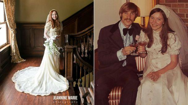PHOTO: Colleen Dejno, 33, of St. Paul, Minnesota, wears the wedding gown belonging to her mother, Patricia, and Patricia poses at her 1973 wedding. (Jeannine Marie Photography|Patricia Cotter<p>)