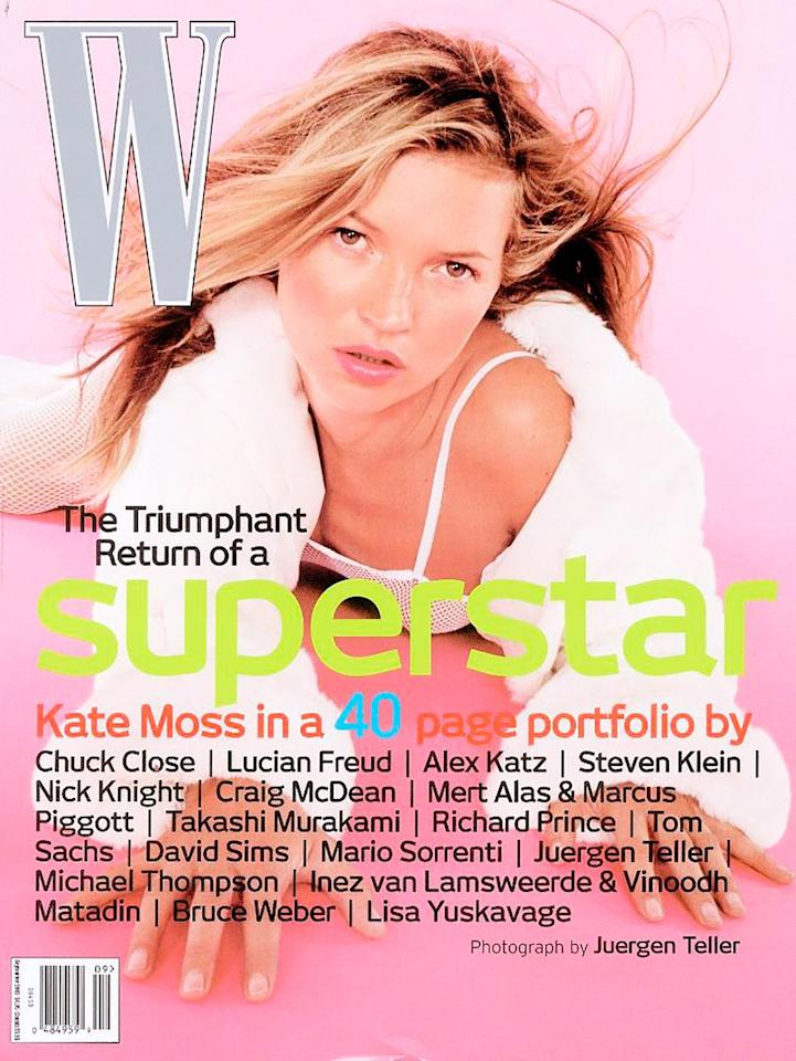 Kate Moss photographed by Juergen Teller for the cover of W Magazine, September 2003.