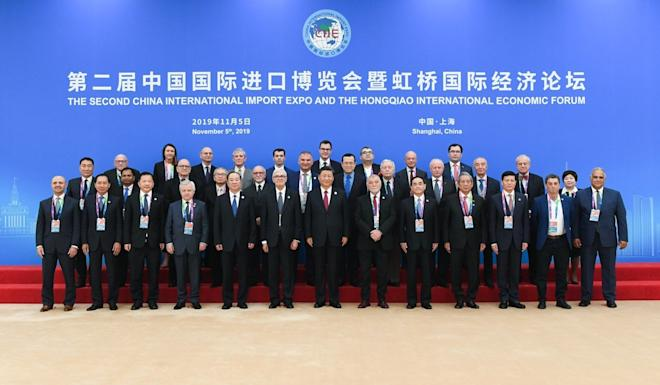 In a keynote speech at the opening ceremony of the second CIIE in Shanghai on Tuesday, Chinese president Xi Jinping said the country would further open its markets to bring down global trade barriers. Photo: Xinhua