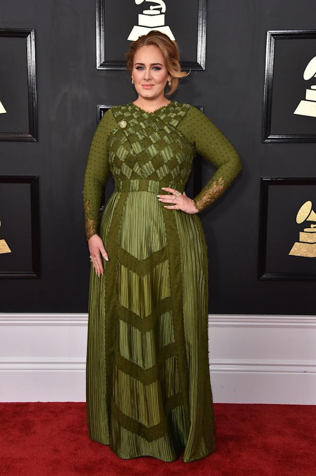 <p>Adele's custom Givenchy haute couture dress featured many different amazing elements, but it was probably its incredible color that stole the show. (Photo: Getty Images) </p>