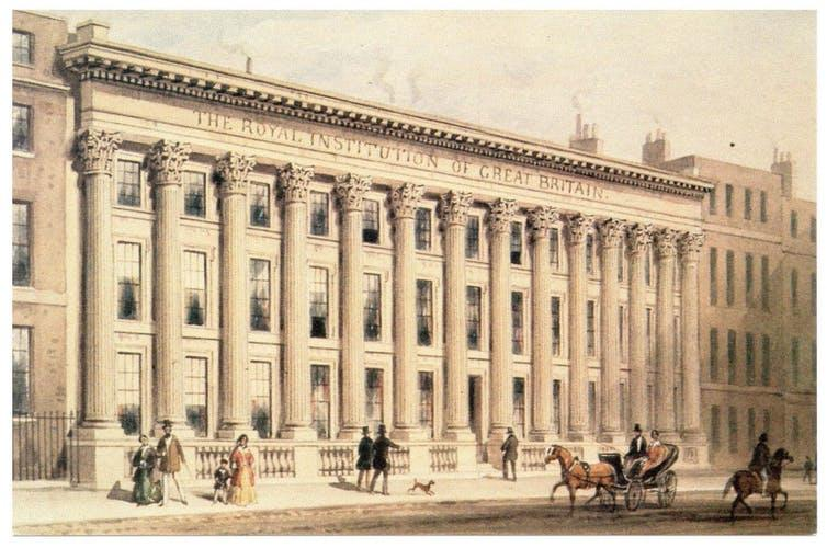 Painting of the neoclassical Royal Institution building in London.