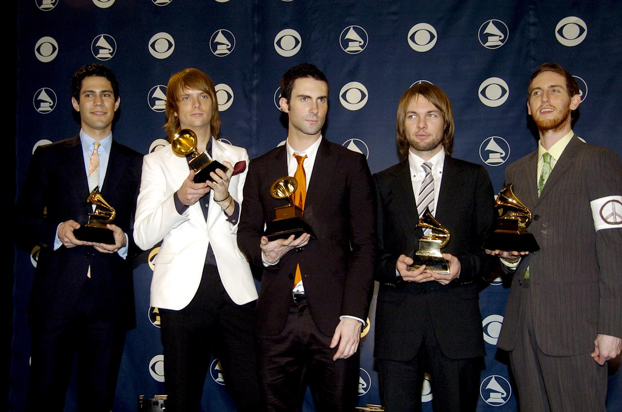 Maroon 5, winners of Best New Artist  (Photo by Jeff Kravitz/FilmMagic)