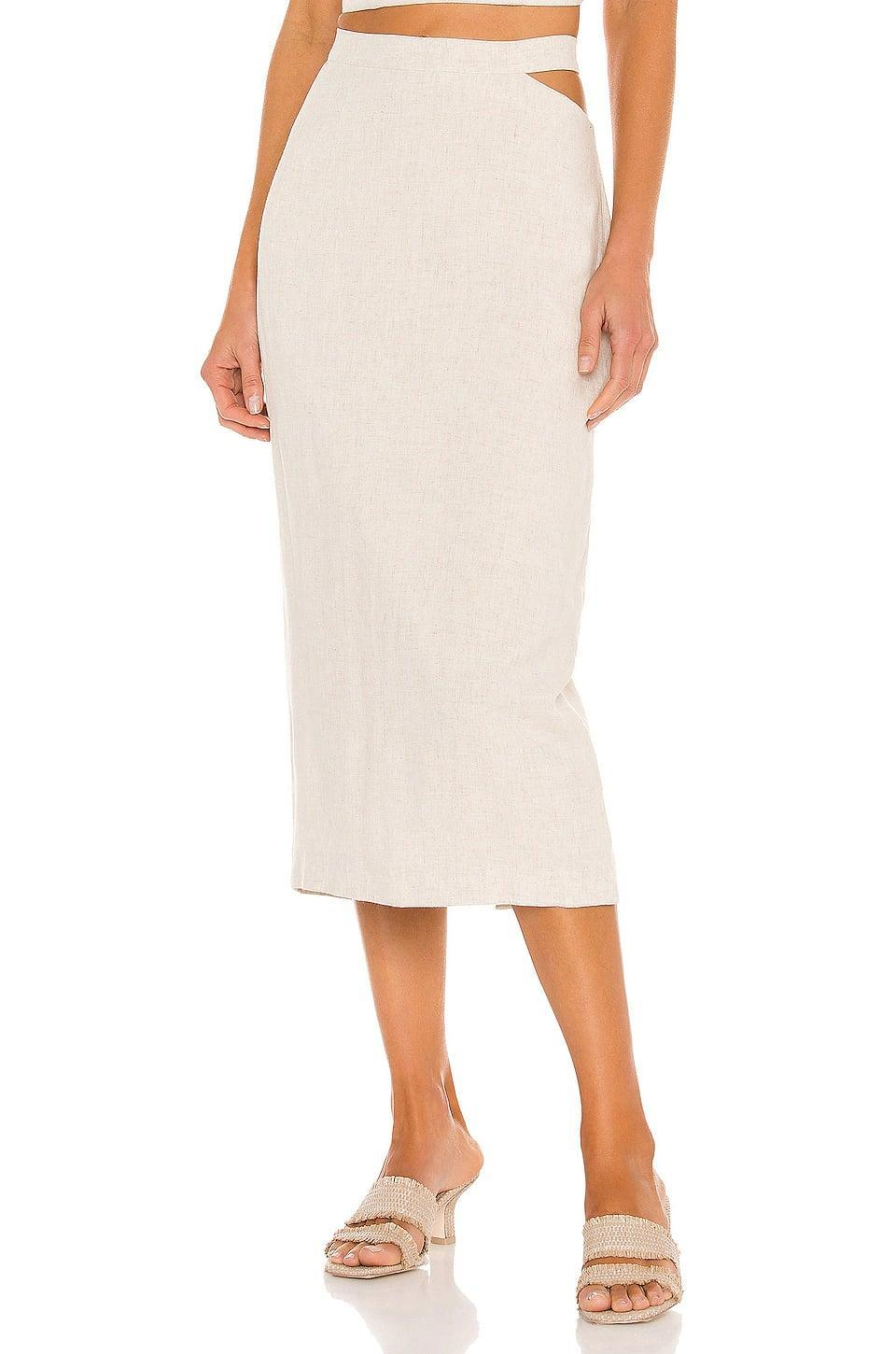 <p>Your spring wardrobe will revolve around this <span>Bardot Midi Cut Out Skirt</span> ($89).</p>