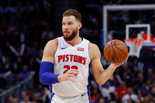 Blake Griffin required surgery on the knee that kept him sidelined to start the playoffs. (AP)