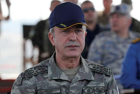 Turkey's Chief of the General Staff Hulusi Akar is seen during the EFES-2018 Military Exercise near the Aegean port city of Izmir Turkey