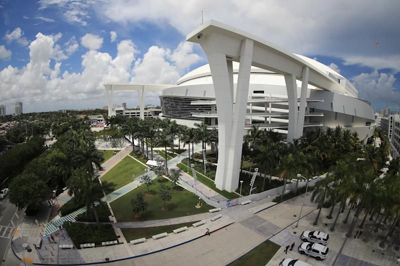 Marlins Park in Miami from the outside. (AP)