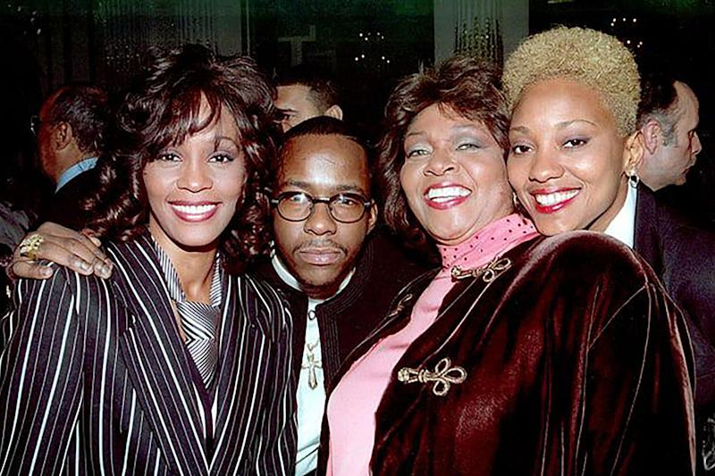 Whitney Houston with Bobby Brown and Robyn Crawford (far right): Rex