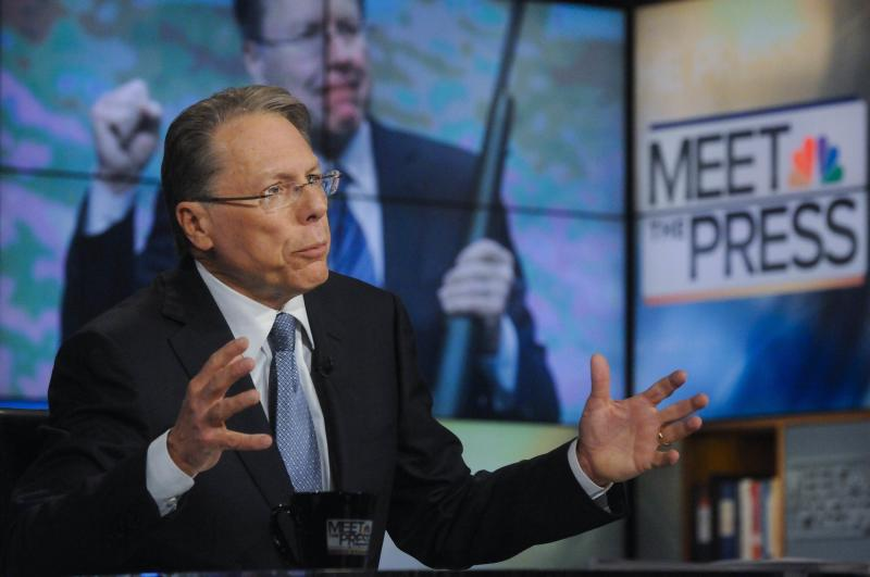 "Handout photo of Wayne LaPierre, NRA executive vice president, appearing on NBC's ""Meet the Press"" in Washington"