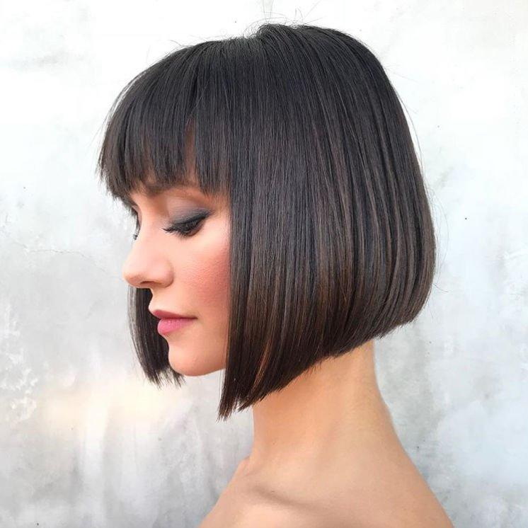 <p>Besides looking totally chic, this cut is super strategic for thin hair. Going for a short bob length will instantly take off weight, and keeping the ends blunt will make you hair look thicker. </p>