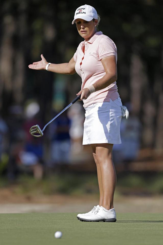 Cristie Kerr reacts after missing a putt on the 12th hole during the second round of the U.S. Women's Open golf tournament in Pinehurst, N.C., Friday, June 20, 2014. (AP Photo/Bob Leverone)