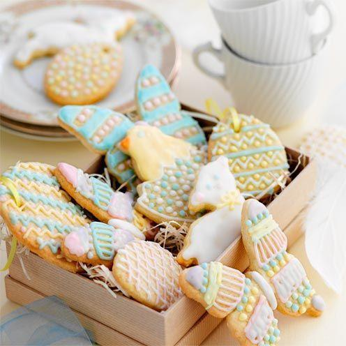 """<p>Condensed milk gives these biscuits extra crunch and helps them hold their shape.</p><p><strong>Recipe: <a href=""""https://www.goodhousekeeping.com/uk/food/recipes/iced-easter-biscuits"""" rel=""""nofollow noopener"""" target=""""_blank"""" data-ylk=""""slk:Iced Easter biscuits"""" class=""""link rapid-noclick-resp"""">Iced Easter biscuits</a></strong><br><br><br> </p>"""