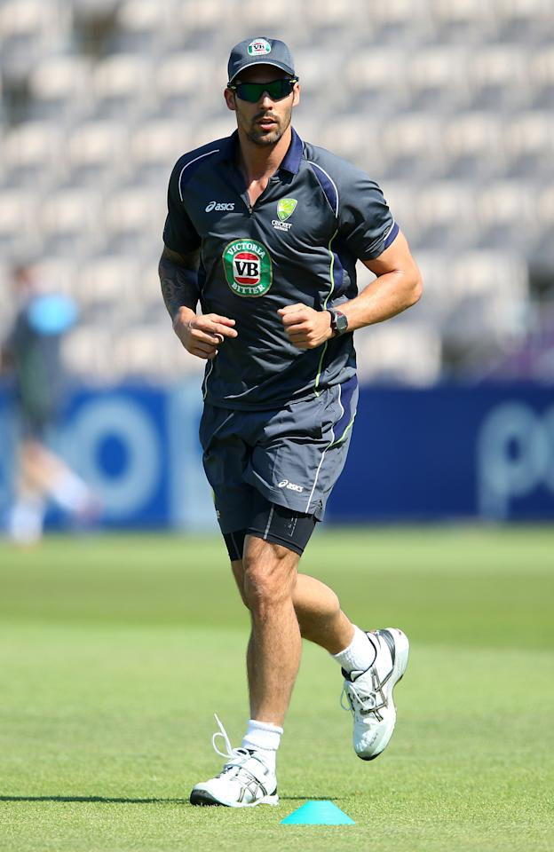SOUTHAMPTON, ENGLAND - AUGUST 28:  Mitchell Johnson of Australia looks on during nets practice session at Ageas Bowl on August 28, 2013 in Southampton, England.  (Photo by Julian Finney/Getty Images)