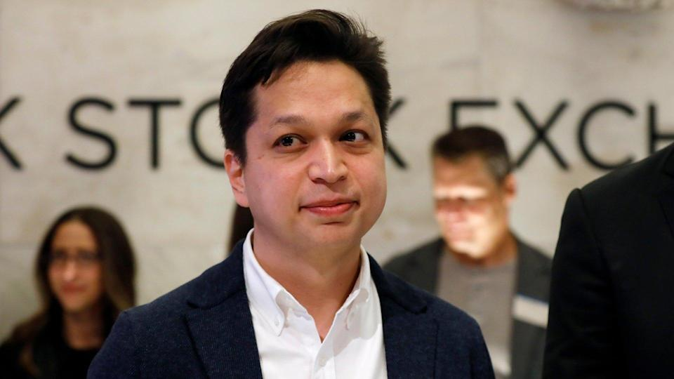 Mandatory Credit: Photo by Richard Drew/AP/Shutterstock (10213574d)Pinterest co-founder & CEO Ben Silbermann, left, is photographed on the New York Stock Exchange trading floor, before the company's IPOFinancial Markets Wall Street Pinterest IPO, New York, USA - 18 Apr 2019.
