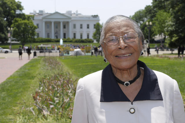 In this May 12, 2011, photo, Recy Taylor stands in Lafayette Park after touring the White House. (Photo: AP/Susan Walsh, File)