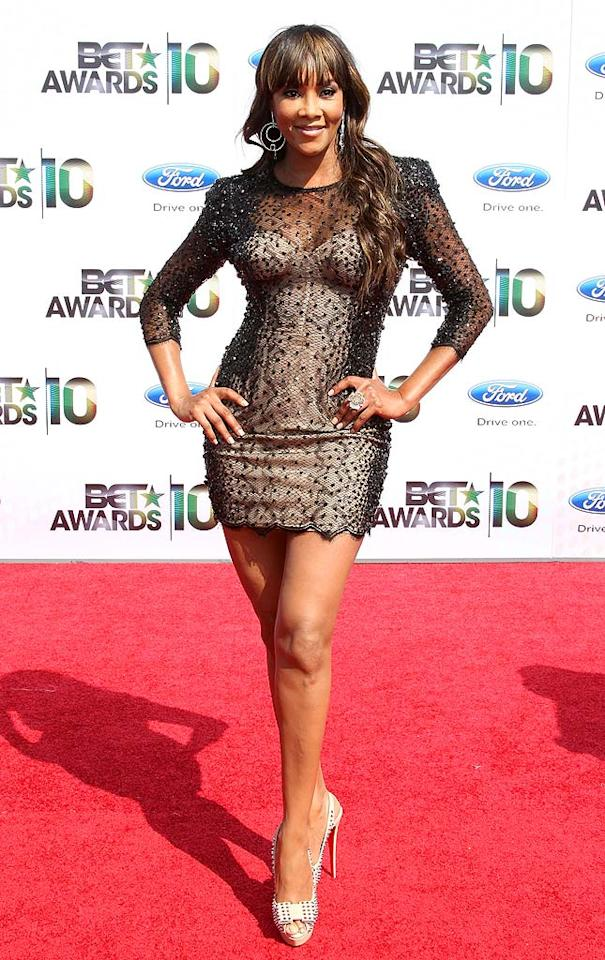 """Vivica A. Fox strutted her stuff in a tiny black lace Zuhair Murad Spring 2010 dress that, unfortunately, was accompanied by gaudy accessories and hair that fell flat. Frederick M. Brown/<a href=""""http://www.gettyimages.com/"""" target=""""new"""">GettyImages.com</a> - June 27, 2010"""