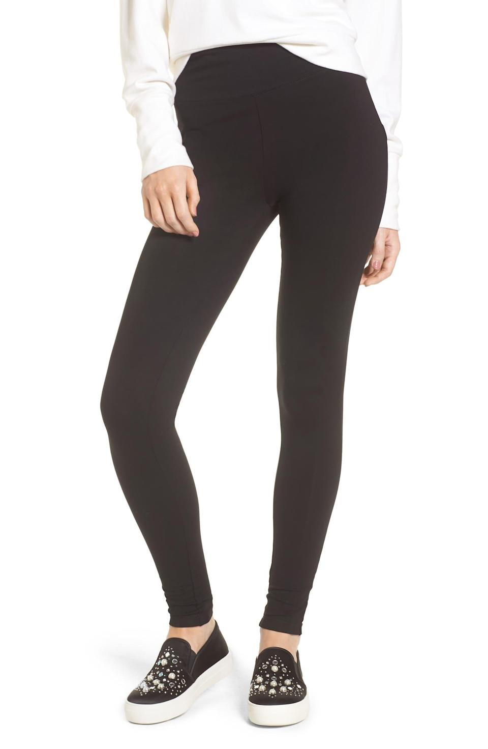 "I don't wear leggings a lot, but I love my trusted pair from Nordstrom that I bought years ago. They have lasted through hundreds of washes and aren't see-through. They're the best and aren't expensive either. —<em>Khaliha Hawkins, producer</em> $19, Nordstrom. <a href=""https://shop.nordstrom.com/s/bp-high-rise-leggings/4687341?origin=keywordsearch-personalizedsort&breadcrumb=Home%2FAll%20Results&color=black"" rel=""nofollow noopener"" target=""_blank"" data-ylk=""slk:Get it now!"" class=""link rapid-noclick-resp"">Get it now!</a>"