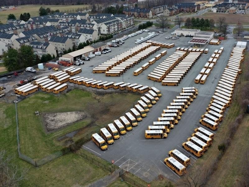 About 200 school buses were parked at the Montgomery County Schools Clarksburg Bus Depot, idled by the closing of schools across Maryland in response to the coronavirus outbreak March 16.