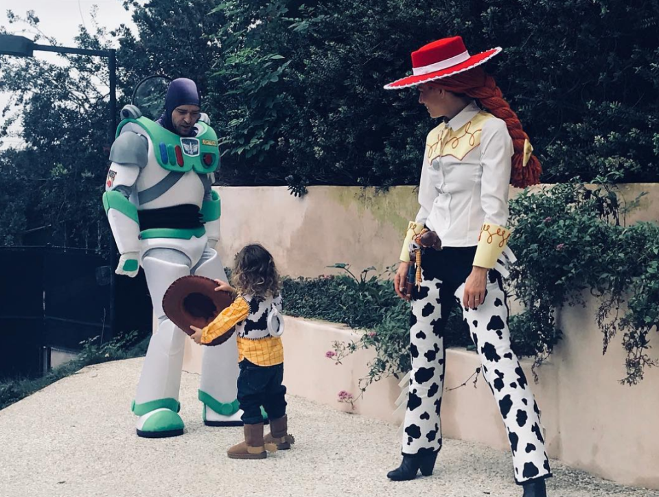 """<p>The actress and her husband, Justin Timberlake, went all-in on Halloween with their 2-year-old son, Silas, as the family donned epic <em>Toy Story</em> costumes for the day. """"Clearly Lil Woody is the boss of this Halloween rodeo!"""" Jess wrote, signing the caption, """"Love, Buzz, Jessie and Woody."""" See more photos of <a href=""""https://www.yahoo.com/lifestyle/celebs-halloween-spirit-slideshow-wp-000841449.html"""" data-ylk=""""slk:celebs in Halloween costumes;outcm:mb_qualified_link;_E:mb_qualified_link;ct:story;"""" class=""""link rapid-noclick-resp yahoo-link"""">celebs in Halloween costumes</a>.<br>(Photo: <a href=""""https://www.instagram.com/p/Ba7ic35FZ5D/?taken-by=jessicabiel"""" rel=""""nofollow noopener"""" target=""""_blank"""" data-ylk=""""slk:Jessica Biel via Instagram"""" class=""""link rapid-noclick-resp"""">Jessica Biel via Instagram</a>) </p>"""
