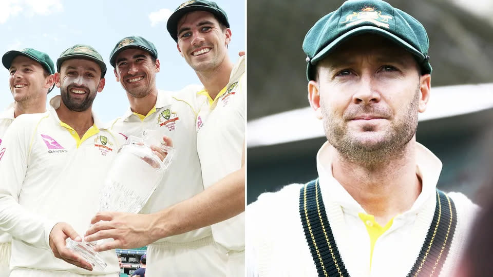 On the right, former Australia captain Michael Clarke and the bowling quartet for the Test side on the left.