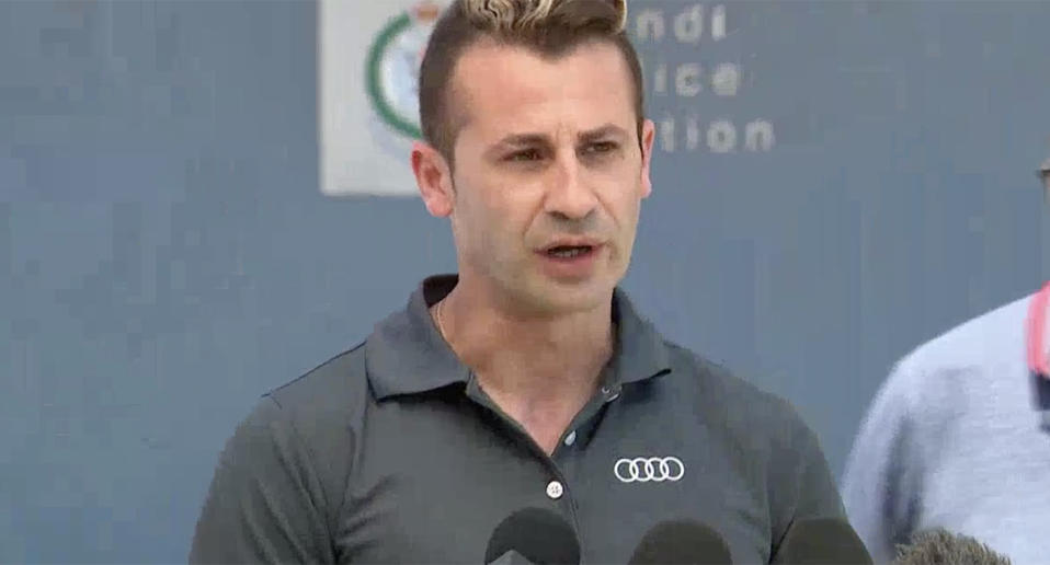 Melissa Caddick's husband Anthony Koletti speaks at a press conference about her disappearance.