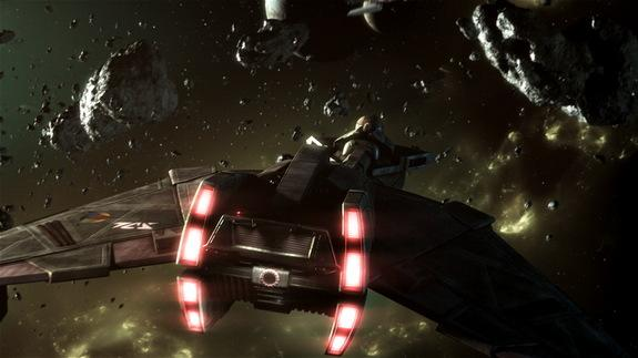 "A Klingon starship in concept art for the fan film ""Star Trek: Prelude to Axanar."""