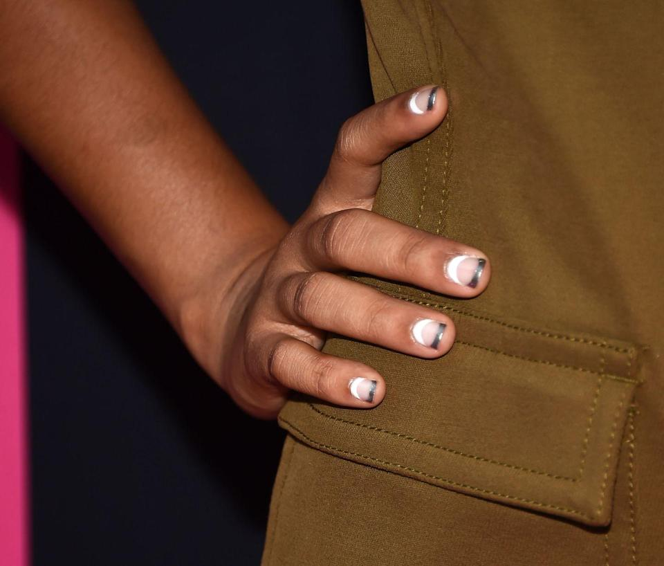 <p>This is a cool 2018 update to a classic French tip. White on the bottom and a punch of metallic on top. </p>