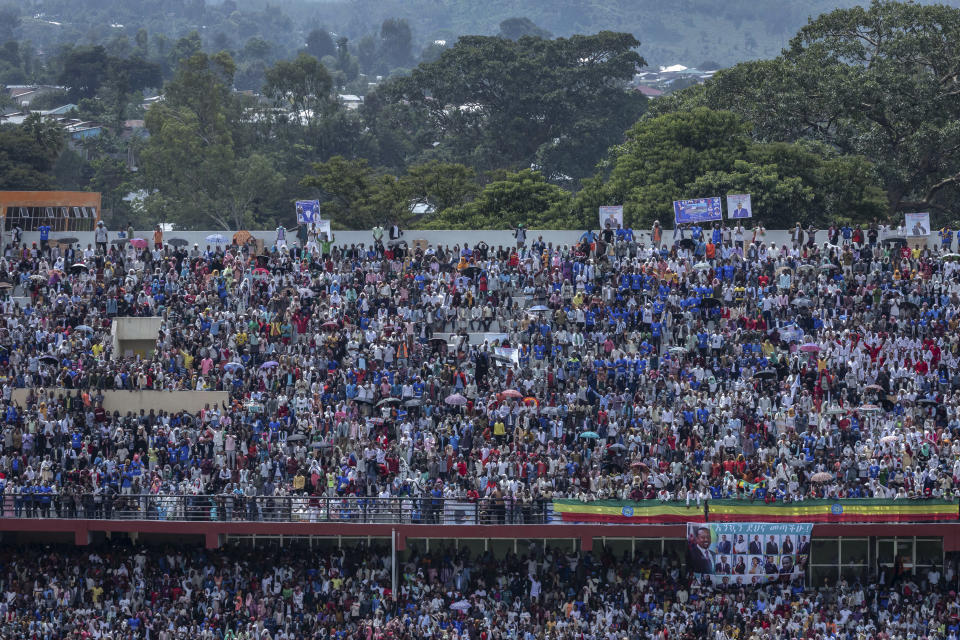 Supporters fill the stands at the final campaign rally of Ethiopia's Prime Minister Abiy Ahmed, in the town of Jimma in the southwestern Oromia Region of Ethiopia Wednesday, June 16, 2021. The country is due to vote in a general election on Monday, June, 21, 2021. (AP Photo/Mulugeta Ayene)