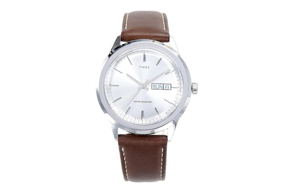 "$158, Todd Snyder. <a href=""https://www.toddsnyder.com/collections/sale/products/timex-midcentury-brown-brown"" rel=""nofollow noopener"" target=""_blank"" data-ylk=""slk:Get it now!"" class=""link rapid-noclick-resp"">Get it now!</a>"