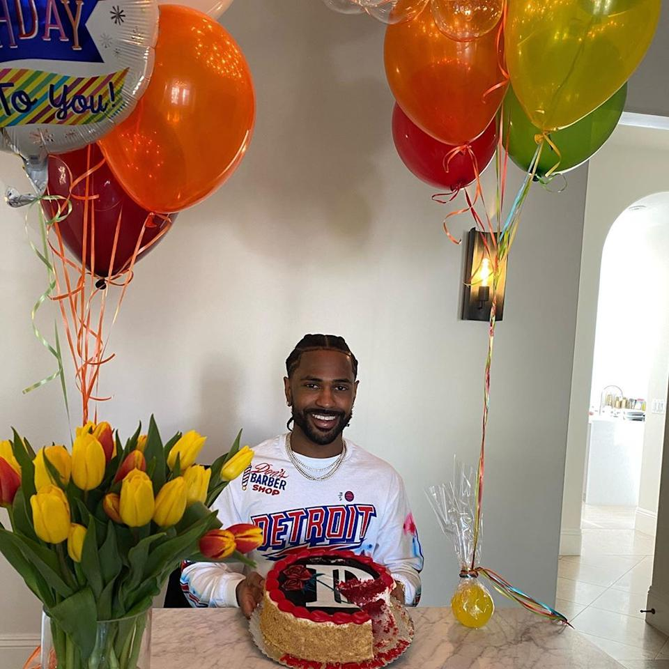 """<p>The <a href=""""https://people.com/tag/big-sean/"""">rapper</a> cherished his 32nd birthday, even though he had to social distancing during it. His red velvet confection was topped with the cover art for his <a href=""""https://www.billboard.com/articles/columns/hip-hop/9343153/big-sean-detroit-2-trailer"""">upcoming album """"Detroit 2.</a>"""" He sat happily surrounded by balloons and flowers and wrote on <a href=""""https://www.instagram.com/p/B-NavwFpIpB/"""">Instagram</a>, """"Quarantine birthday's lookin like 🤲🏾 'Health is wealth' got a whole new meaning lately. If u still here, you chosen! Gratitude <a href=""""https://www.instagram.com/explore/tags/detroit2/"""">#Detroit2</a>.""""</p>"""