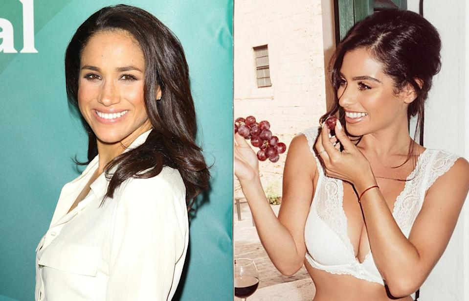 Meghan Markle and one of the lookalike models from her bridal campaign. (Photo: Getty Images/Simply Be)