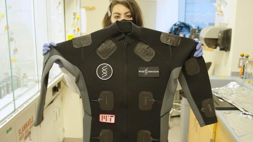 The button-activated mask, which uses a sensor technology, takes just over an hour - at around 90 minutes - to find out whether the person wearing it is infected with coronavirus (Wyss Institute at Harvard University)