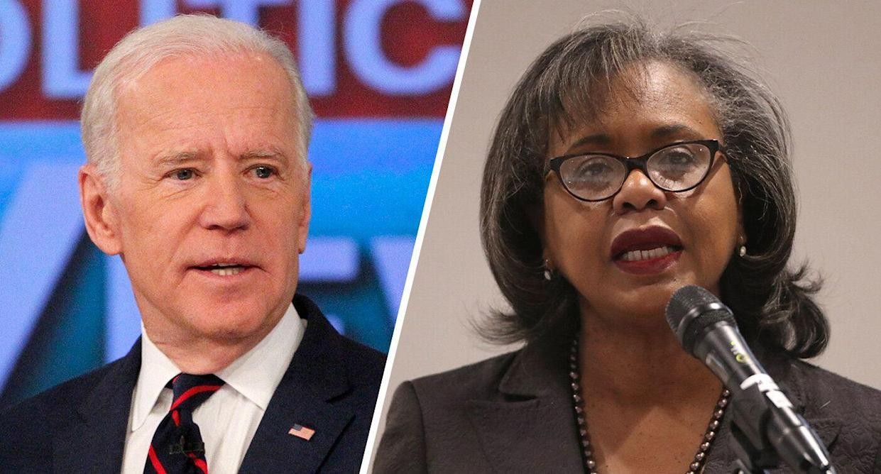 Former Vice President Joe Biden and professor Anita Hill. (Photos: Lou Rocco/ABC via Getty Images; George Frey/Getty Images)