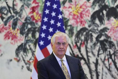 U.S Secretary of State Rex Tillerson looks on during a joint press conference with Chinese Foreign Minister Wang Yi (not pictured) at Diaoyutai State Guesthouse in Beijing