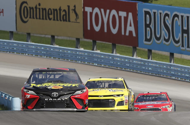 "<a class=""link rapid-noclick-resp"" href=""/nascar/sprint/drivers/380/"" data-ylk=""slk:Martin Truex Jr"">Martin Truex Jr</a>. (78) won the 2017 Cup Series title. (AP Photo/Julie Jacobson)"