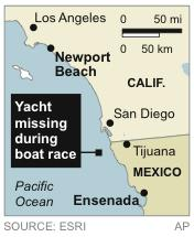 Map locates where yacht went missing during race from California to Mexico