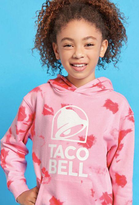 """Girls Taco Bell tie-dye hoodie, <a href=""""https://www.forever21.com/us/shop/Catalog/Product/f21/promo-taco-bell-collection/2000235321"""" target=""""_blank"""">$17.90 at Forever 21</a>"""
